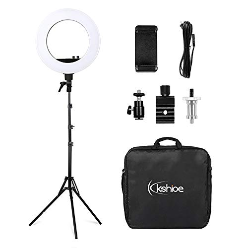 Kshioe 18in Dimmable LED Ring Light Kit with Light Stand, Ajustable 2700-5500k Color Temperature for YouTube, Selfie, Makeup and Photograpy by Kshioe