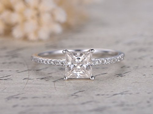 Moissanite Engagement Ring 5.5mm Princess Cut Solitaire Solid 14k White Gold Square Half Eternity Diamond Thin Wedding Band Bridal Set Anniversary Gift Promise Ring Charles Colvard ()