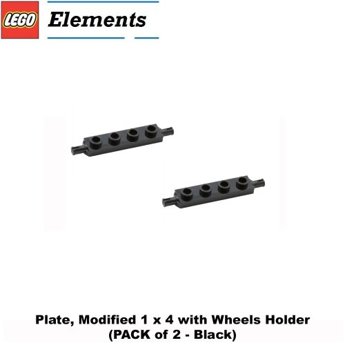 Lego Parts: Plate, Modified 1 x 4 with Wheels Holder (PACK of 2 - Black)