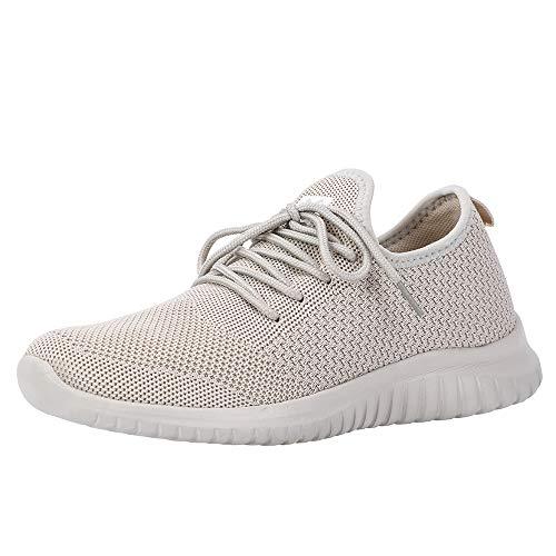 (Lyncxx Women's Athletic Walking Shoes Casual Knit Comfortable Fashion Sneakers Bone 7 (B) M US)