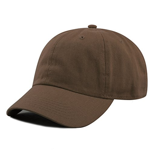 The Hat Depot Kids Washed Low Profile Cotton and Denim Baseball Cap (Brown)]()