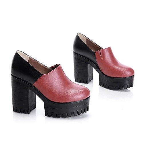 Amoonyfashion Donna Tacco Tondo Tacco Chiuso Materiale Morbido Scarpe Alte Pompe-scarpe Rosse