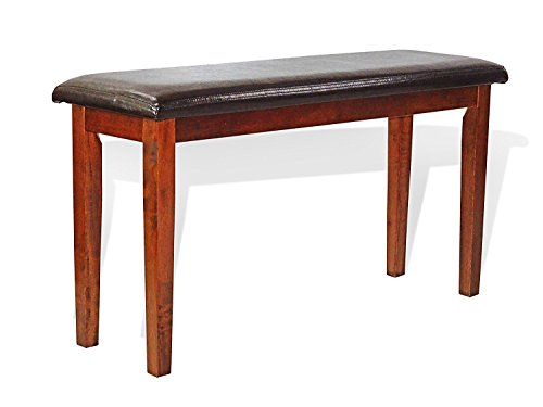 Dining Kitchen Solid Wooden Bench Stained Classic Design in Dark Walnut Finish Padded Seat