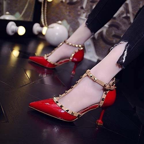 Yukun zapatos de tacón alto Zapatos De Tacón Alto, Sandalias, Zapatos De Mujer, Zapatos Puntiagudos, Ventilador Han, Viento, Baotou, Hebilla, Tacón De Aguja, Zapatos Sueltos, 38, Arena Red