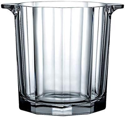 クリスタル アイスペール と アイストング ハンドル,絶縁された アイスバケット クーラー,厚く ガラス シャンパン ワインクーラー シャンパンクーラー のパーティ バー ピクニック-透明な 13x13x15cm(5x5x6inch)