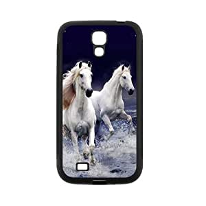 SamSung Galaxy S4 I9500 Case,Running White Horses With Splashed Water High Definition Wonderful Design Cover With Hign Quality Rubber Plastic Protection Case