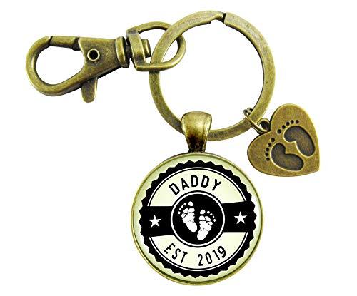 Daddy Established 2019 Keychain New Dad First Father's Day Vintage Bronze Keychain Baby Feet Charm
