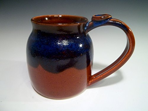 Handmade Large Stoneware Ceramic Pottery Coffee Mug Cup in Burnt Sienna with Indigo Blue