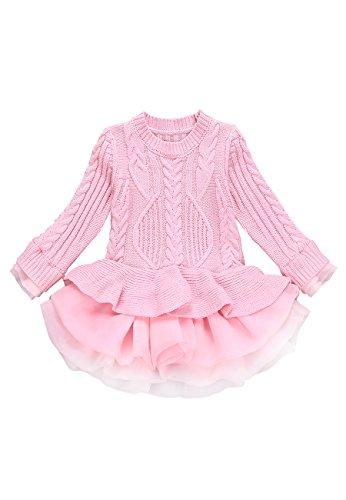 OMZIN Girls Winter Sweater Pullover Long Sleeve Knitting Dresses Pink 3-4 (Merida Toddler Gloves)