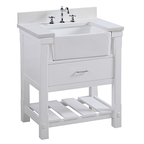 (Charlotte 30-inch Bathroom Vanity (Quartz/White): Includes a White Quartz Countertop, White Cabinet with Soft Close Drawers, and White Ceramic Farmhouse Apron Sink)