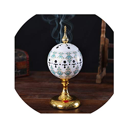 dream-higher 1PCs Hollow Pattern Ceramic Incense Burners Dome Islamic Style with Socket Aromatic Home Office Incense Crafts Incense Holder,White