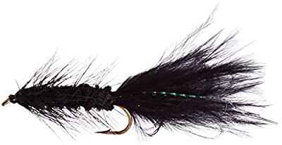 Flies Direct Wooly Bugger Black Assortment 1 Dozen Trout Fishing Flies