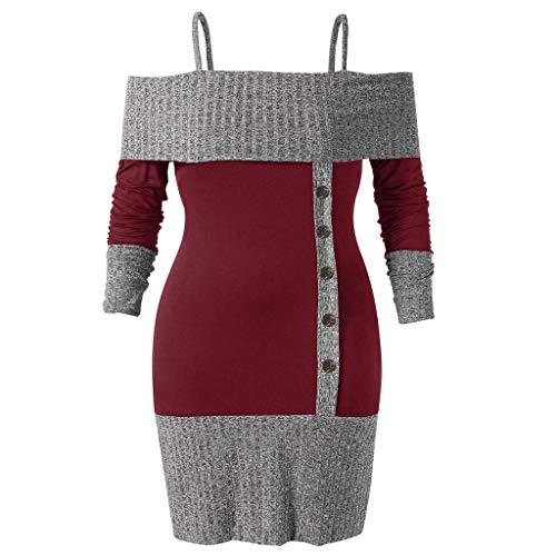 ANJUNIE Women Plus Size Bodycon Dress Long Sleeve Open Shoulder Two Tone Knitwear Pullover Skirt(Wine,XL)