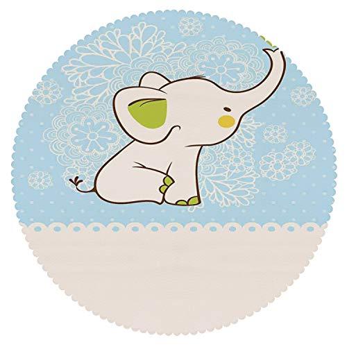 Unique Round Tablecloth [ Kids,Elephant Invitation Flower Heart Cartoon Doodle Art Flower Retro Pattern Animals Themed Print ] Fabric Home Tablecloth Ideas -