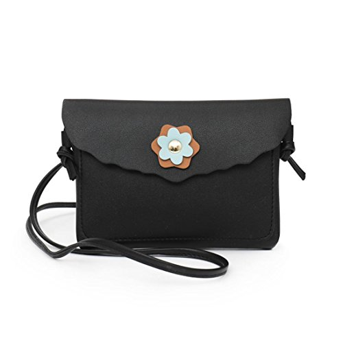 Black Phone Color Fashion Messenger Bag Leather Bag Women Muium Girls Pure Flower Decoration Bags Crossbody FUxfq