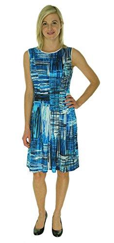 Nine West Women's Sleeveless Seamed Bodice with Full Skirt, Marine Coast Combo, 10