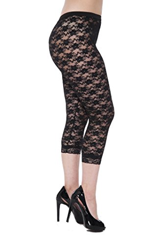 Lace Capri Leggings Footless Tights Floral Pattern Cropped Pants Black (Lacy Leggings For Women)