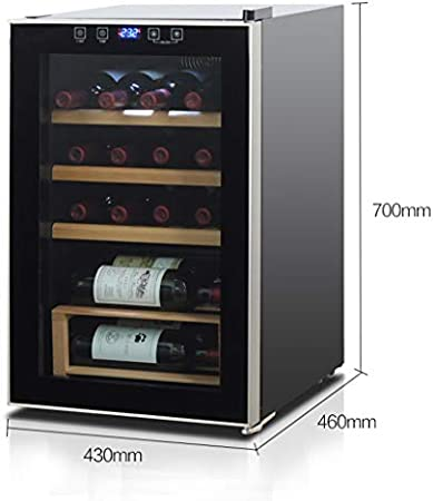 Vinoteca Wine Nevera para Bebidas Cooler 20 Botellas de Vino Bodega la Puerta del Refrigerador 64 L Glass 5-18 ℃ Temperatura de la Zona 5 de Madera de Haya Selves Independiente 43 × 46 × 70cm