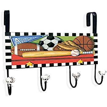 Stupell Home Décor All Star Sports Over The Door Hanger, 12 x 10.5 x 2, Proudly Made in USA