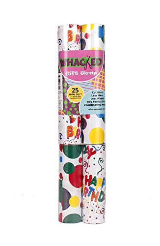 Whacked Paper Colorful Circles/Happy Birthday Confetti Gift Wrapping Paper, 25 sq. ft