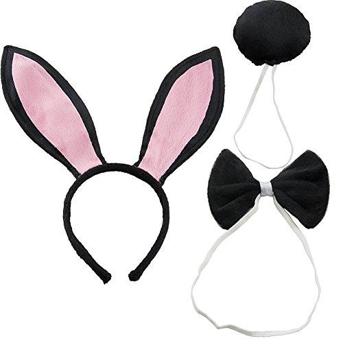 CHUANGLI Women's Rabbit Ears Headband Tail Bow Tie