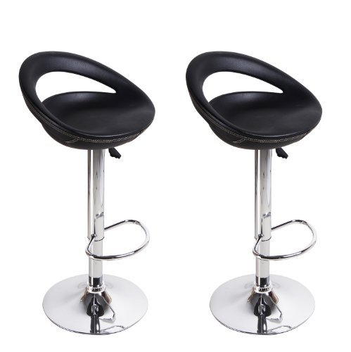Adeco Black Round Hydraulic Lift Adjustable Half Back Barstool Chair PVC Covered Chrome Finish Pedestal Base (Set of Two) ()