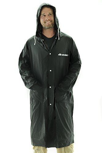 Wealers Adult Portable Lightweight PVC Long Size Hooded Raincoat, Reusable Rainwear, with Pockets and a Carry Bag (Black, Medium - Length: 44 - Black Raincoat Long