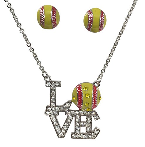 LOVE Softball Bling Rhinestone Silver Tone Necklace and Earrings Set