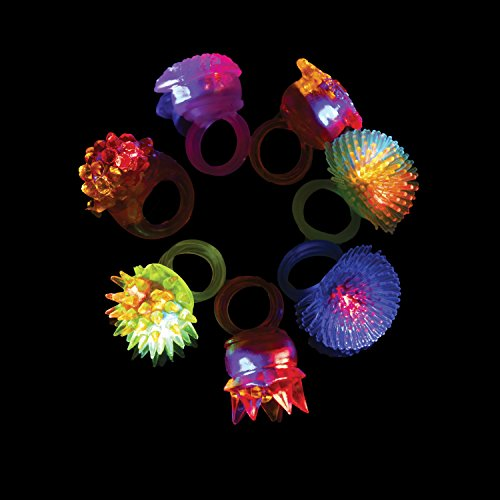 LED Party Favors for Kids – 36 Pc LED Glow in The Dark Jelly Rings Party Favors Bulk Glow in The Dark Party Supplies in Assorted LED Ring Colors by PartySticks (Image #2)