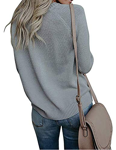 shermie Womens Pullover Sweaters Long Sleeve Crewneck Cute Heart Knitted Sweaters Grey, Medium