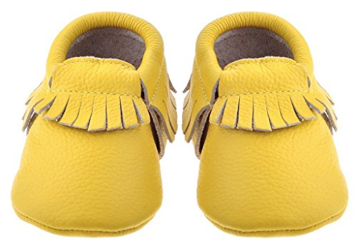 Sayoyo Baby Yellow Tassels Soft Sole Leather Infant Toddler Prewalker Shoes(12-18 Months, Yellow)