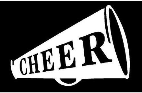 White Vinyl Decal Cheerleading Horn Cheer School Spirit Fun Sport Sticker Truck, Die Cut Decal Bumper Sticker for Windows, Cars, Trucks, Laptops, Etc.
