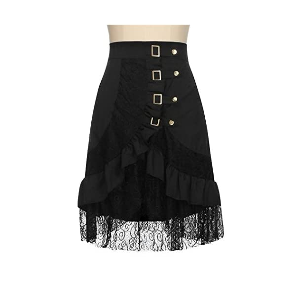 VEZAD Lace Skirt Women's Steampunk Clothing Party Club Wear Punk Gothic Retro Black Skirt 5