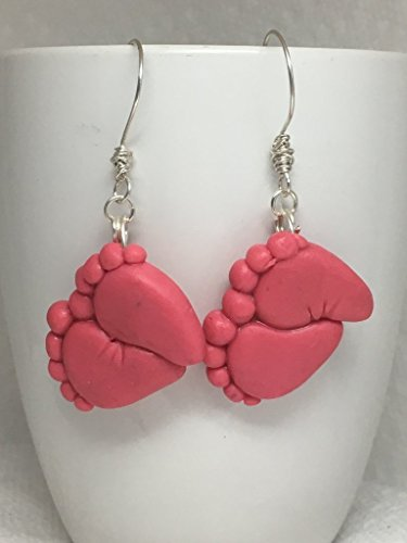 Baby Foot Print Earrings Girl Boy cute adorable new mother grandma grandparent mama Nana Aunt Sister Cousin Pink Blue Polymer Clay - Gypsy Mama Wrap