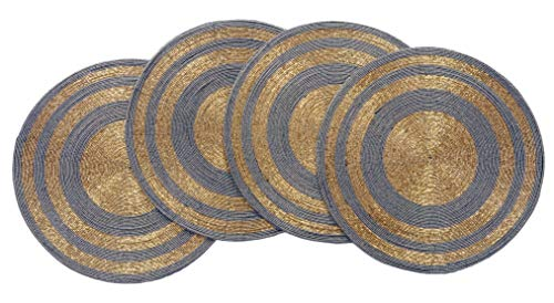 - Decozen Handmade Round Beaded Placemat for Coffee Table Dining Table High Quality Beads Heat Resistant Scratch Proof and Easy to Care Kitchen Décor Table Mat with Diameter 14 inches - Gold/Smoke