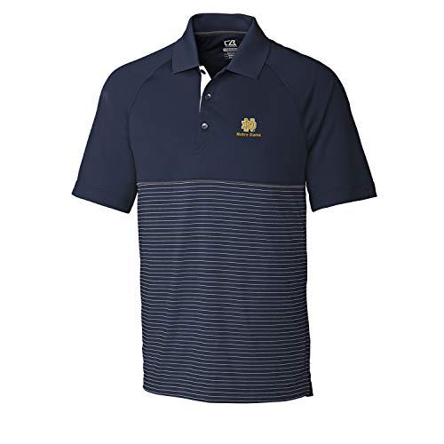 Cutter & Buck NCAA Notre Dame Fighting Irish Short Sleeve Junction Stripe Hybrid Polo, XL