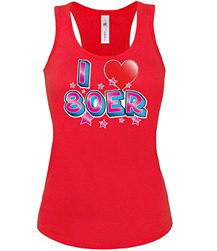 Karnevalskostüm - Faschingskostüm - Halloween - I LOVE 80ER mujer camiseta Tamaño S to XXL varios colores S-XL Rojo