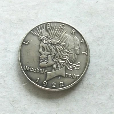 2 Faces Pendant - SUIWOYOU Hobo Coins Nickel 1922 Two Face Peace Dollar Keychain Pendant