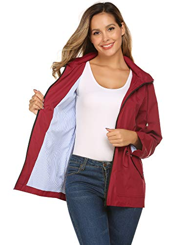 Rain Anorak Women Lightweight Striped Lined with Hood for Hiking(Wine ()