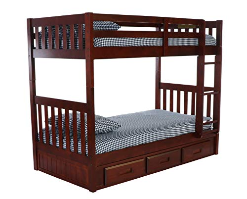 Discovery World Furniture 2810-2892 with with 3 Drawer Storage Bunk Bed, Twin Over Twin, Merlot