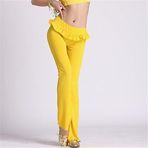 Womens Ladies Dance Pantalón Fitness Workout Pantalón Elastic Trousers Lycra Pantalón Dancewear Yellow