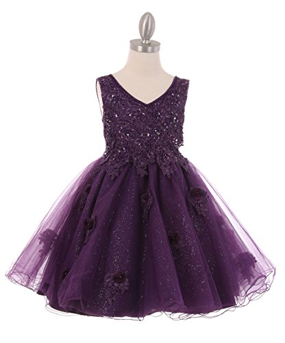 Cinderella Couture New Girls Short V-Neck Tulle Satin Dress Pageant Wedding Elegant Pearl Bead 3D Flowers (4, Purple)