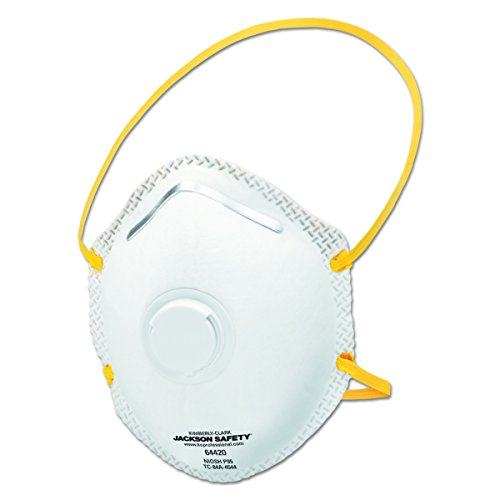 Jackson Safety 64420 R20 White with Yellow String Particulate Respirators With Valve (P95) (80 per Case) by Jackson Safety