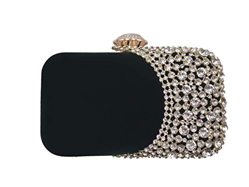 Womens Rhinestone Evening Bag Bridal Clutch Purse Wedding Party Cocktail Handbag (GREEN)