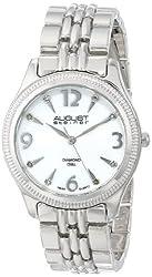 August Steiner Women's AS8089SS Swiss Quartz Diamond Mother-of-Pearl Silver-tone Bracelet Watch