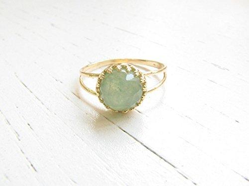 14k Gold Filled Jade Ring Gemstone Natural Stone