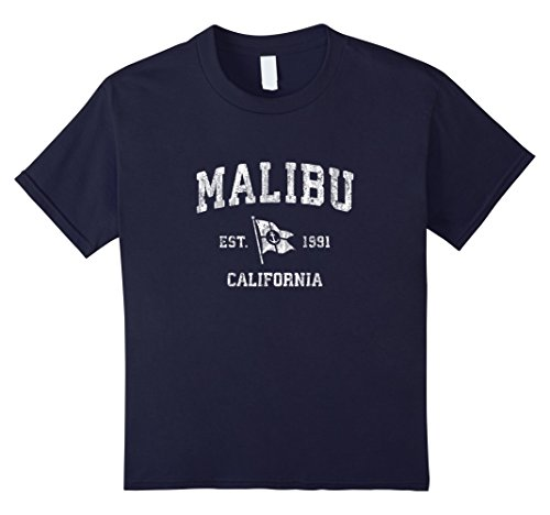 Kids Malibu California Ca Vintage Boat Anchor Flag Design Tee 12 Navy