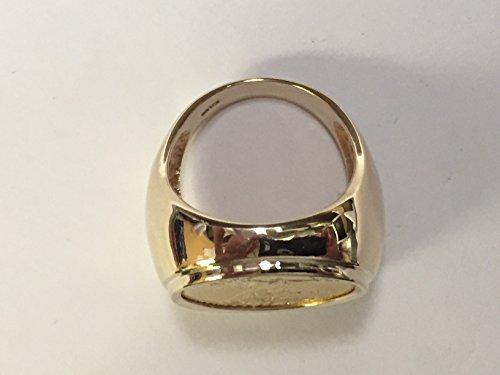 22K-14K-Fine-Gold-14-Oz-Us-Amreican-Eagle-Coin-In-Heavy-25-Mm-14K-Gold-Ring-1975