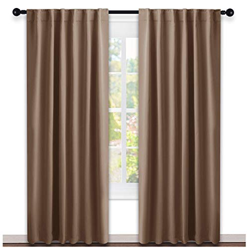 Blackout Curtain Panel for Living Room - (Cappuccino Color) 52 inches Wide by 84 inches Long, 2 Panels Set, Insulated Room Darkening Window Drapes
