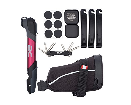 Bike Repair Kit by BC Bicycle Company Mini Pump Multitool Patch Kit Tire Levers Seat Bag Complete Set for MTB Road Hybrid Red